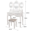 Picture of Levede Dressing Table Jewellery Organiser Mirror Makeup Drawer Bedroom Furniture   Free Delivery