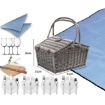 Picture of 4 Person Picnic Basket Baskets Set Outdoor Blanket Wicker Deluxe Folding Handle   Free Delivery