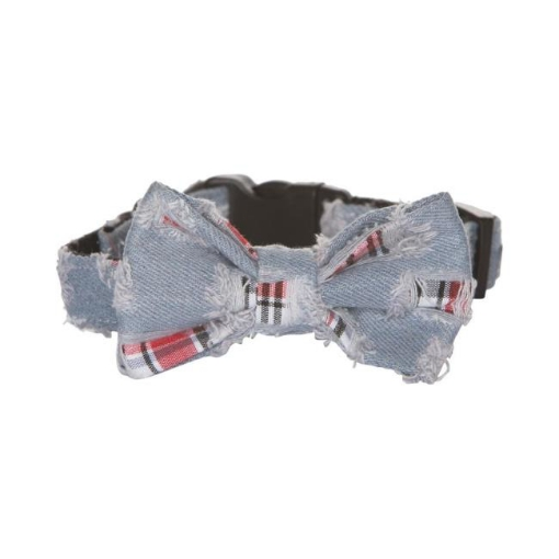 Picture of Bow Tie Dog Collar - Denim Size Medium   Free Delivery