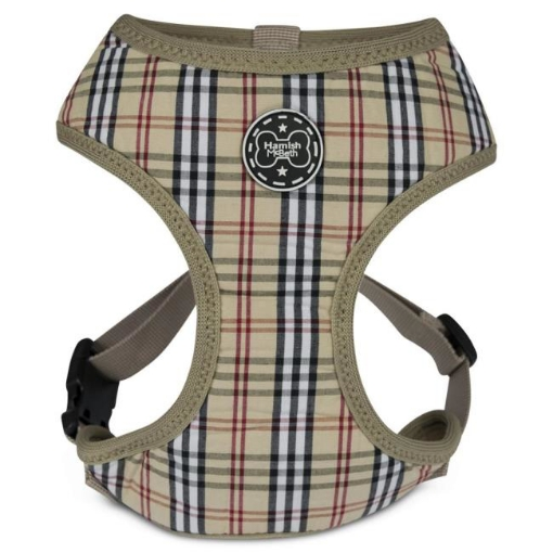 Picture of Brown Tartan Dog Harness Size Medium   Free Delivery