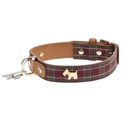 Picture of Highland Purple Tartan Dog Collar Size Small   Free Delivery