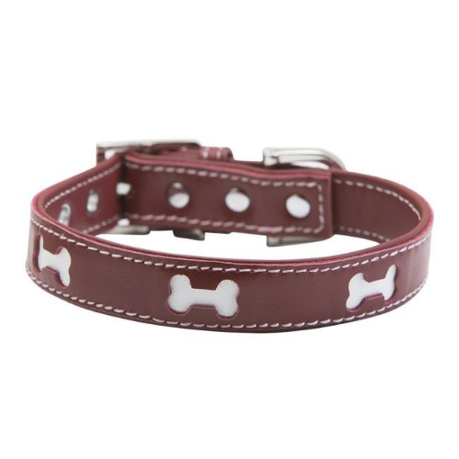 Picture of Red Bones Dog Collar Size Medium Red | Free Delivery