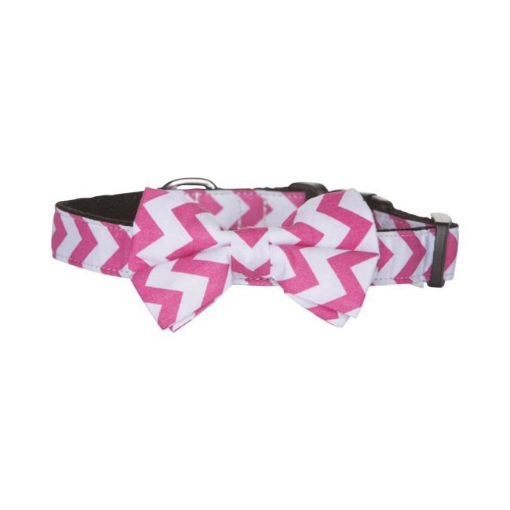 Picture of Bow Tie Dog Collar - Pink Chevron Size Small | Free Delivery