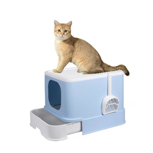 Picture of PaWz Cat Litter Box Fully Enclosed Kitty Toilet Trapping Odor Control Basin Blue   Free Delivery