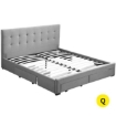 Picture of Levede Bed Frame Queen Fabric With Drawers Storage Wooden Mattress Grey | Free Delivery