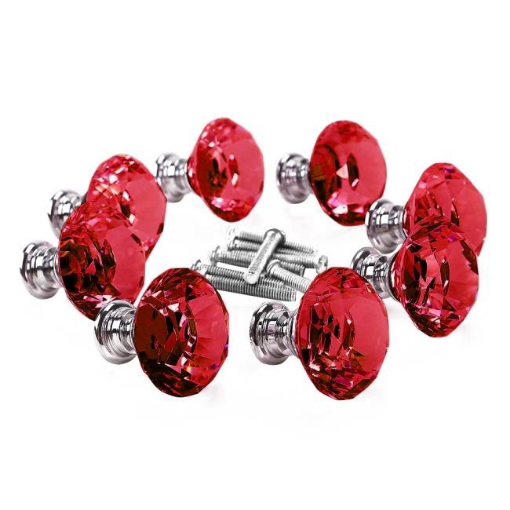 Picture of 16 Pcs Red Crystal Knobs Diamond 40mm Diameter Door Cabinet Handle | Free Delivery