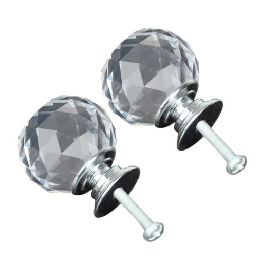 Picture of 30mm 10Pack Clear Crystal Glass Door Pull Knobs Knob Drawer Handle Cabinet +Screw | Free Delivery