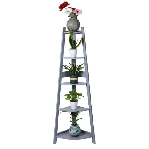 Picture of Levede 5 Tier Corner Shelf Wooden Storage Home Display Rack Plant Stand Grey | Free Delivery