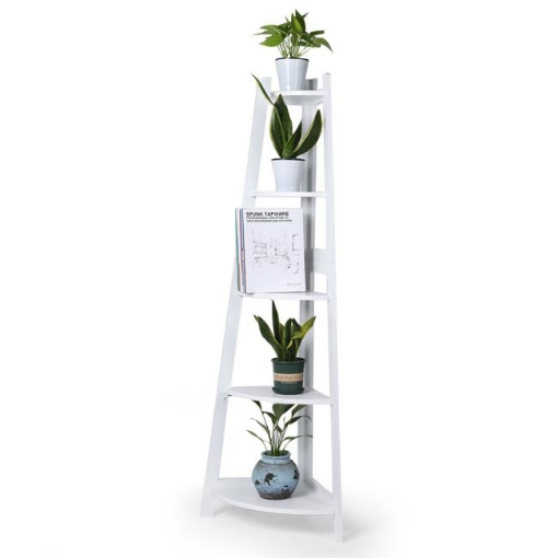 Picture of Levede 5 Tier Corner Shelf Wooden Storage Home Display Rack Plant Stand White   Free Delivery