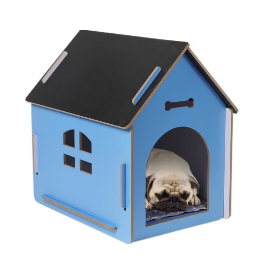 Picture of Wooden Dog House Pet Kennel Timber Indoor Cabin Large Blue L | Free Delivery