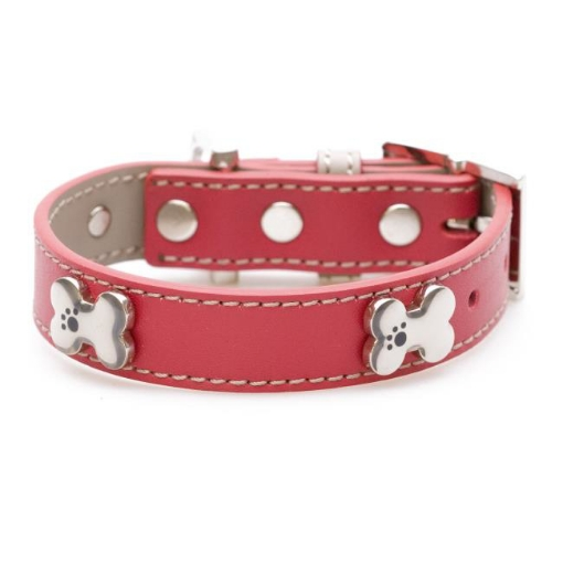 Picture of Red Bones Bling Dog Collar Size Small | Free Delivery
