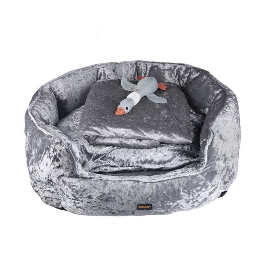 Picture of PaWz Pet Bed Set Dog Cat Quilted Blanket Squeaky Toy Calming Warm Soft Nest Grey M | Free Delivery