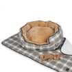 Picture of PaWz Pet Bed Set Dog Cat Quilted Blanket Squeaky Toy Calming Warm Soft Nest Checkered XL | Free Delivery