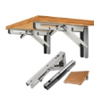"Picture of 2Pcs 10"" Folding Table Bracket Stainless Steel Triangle 150KG Wall Shelf Bench 