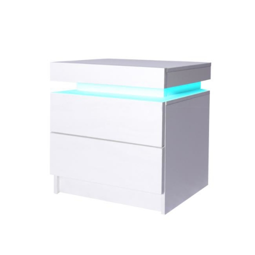 Picture of Levede Bedside Tables Drawers RGB LED Storage Cabinet High Gloss Nightstand | Free Delivery