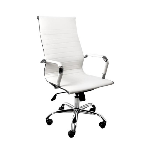 Picture of 2PCS Office Chair Home Gaming Work Study Chairs PU Mat Seat Back Computer White | Free Delivery