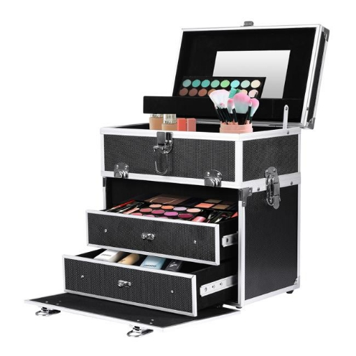 Picture of Portable Makeup Case Cosmetic Organiser Box Beauty Travel Suitcase 5 in 1 Black | Free Delivery
