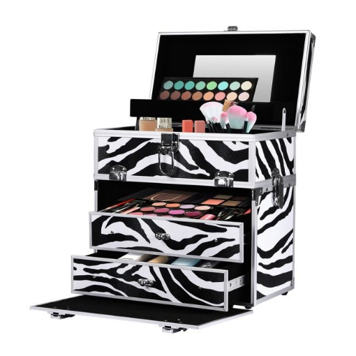 Picture of Portable Makeup Case Cosmetic Organiser Box Beauty Travel Suitcase 5 in 1 Zebra   Free Delivery