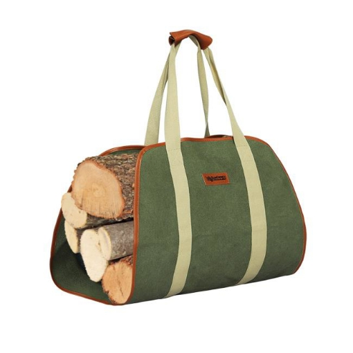 Picture of Traderight Firewood Bag Durable Canvas Leather Fire Wood Carrier Log Holder Tote | Free Delivery