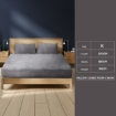 Picture of Bedding Set Ultrasoft Fitted Bed Sheet with Pillowcases Silver Grey King   Free Delivery