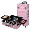 Picture of Makeup Case Professional Makeup Organiser 7 in 1 Trolley Silver Pink   Free Delivery