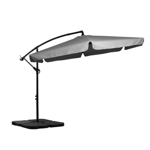Picture of 3M Patio Outdoor Umbrella Cantilever Grey With Base Stand   Free Delivery