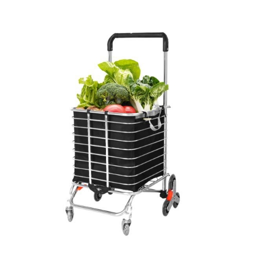 Picture of Foldable Shopping Cart Trolley Basket Luggage Grocery Portable Black 40L w/Wheel | Free Delivery