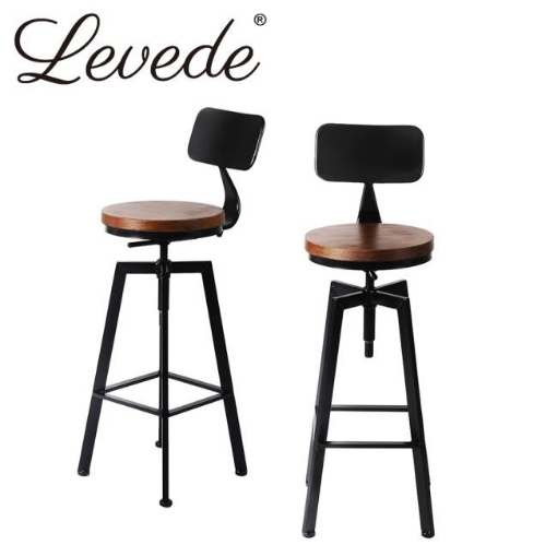 Picture of Levede Industrial Bar Stools Kitchen Stool Wooden Barstools Swivel Vintage Chair | Free Delivery