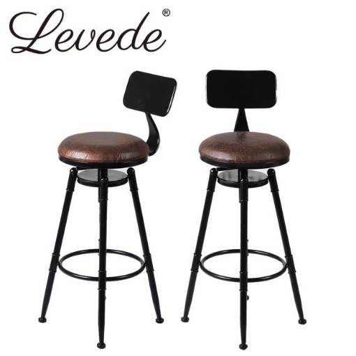 Picture of Levede Industrial Bar Stools Kitchen Stool PU Leather Barstools Swivel Chair | Free Delivery