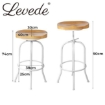 Picture of Levede Industrial Bar Stools Kitchen Stool Wooden Barstools Swivel Chair White | Free Delivery