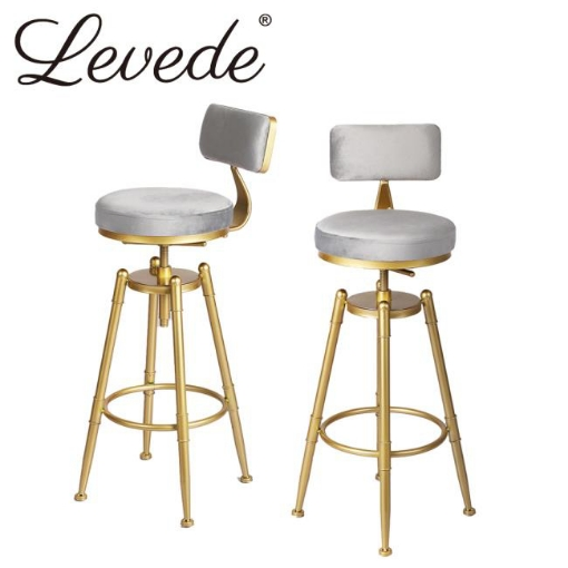 Picture of Levede Bar Stools Kitchen Stool Chair Swivel Barstools Velvet Padded Seat Grey | Free Delivery