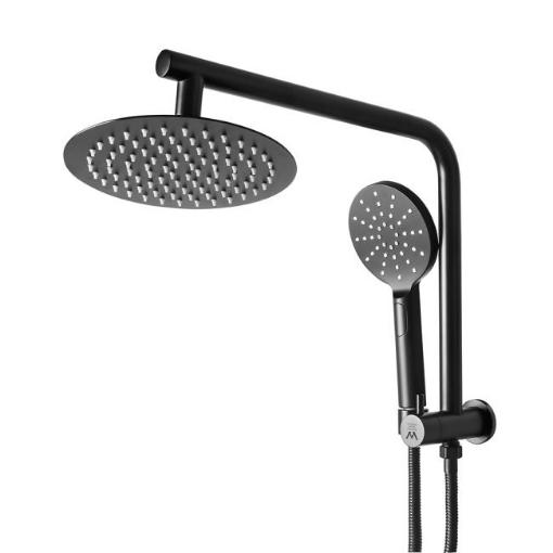 "Picture of Rain Shower Head Set Black Round Brass Taps Mixer Handheld High Pressure 8"" | Free Delivery"