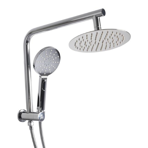 """Picture of Rain Shower Head Set Silver Round Brass Taps Mixer Handheld High Pressure 8"""" 