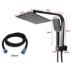 """Picture of Rain Shower Head Set Black Square Brass Taps Mixer Handheld High Pressure 8""""   Free Delivery"""